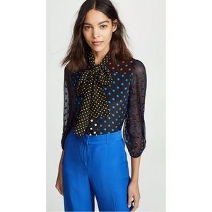 Alice + Olivia Jeannie Bow Neck Polka Dot Top